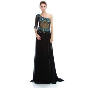 Dresses & Skirts - One shoulder embellished evening gown prom dress